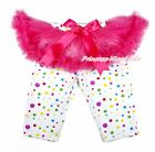 Hot Pink Tutu Rainbow Dots Legging Hot Pink Bow Dress Pettiskirt Pant Tight 1-7Y
