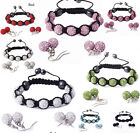 Set Of Shamballa Crystal Ceramic Bracelet + 2 Pairs Earrings For Women Girls