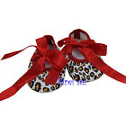 Xmas Newborn Baby Girls Red Ribbon Bow Brown Leopard Party Crib Shoes NB-18M