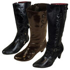Womens Faux Leather Mid Calf Designer Boots Ladies Heel Boot Size UK 3-8