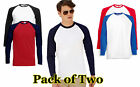 Mens 2 Pack Fruit of the Loom Long-Sleeve Baseball T Shirt Cotton Vest 5 Colours
