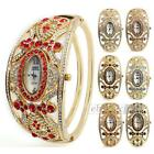 Women's Quartz Movement Bracelet Wristwatch Watch Golden Rhinestone White Face