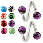 Spiral lip bar twist piercing steel eyebrow barbell ear tragus rings 2pcs 9GDJ