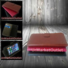 Magnetic Folio Case Apple iPhone 5 5s w/Card Slot + Glass Screen Protector