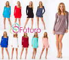 ☼ Gorgeous Women's Mini Dress ☼ Square Neck Tunic Long Sleeve Sizes 8 -18 2534