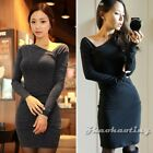 New Womens Ladies Long Sleeve Cotton Blend Bodycon Slim Casual Party Dress Black