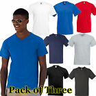 Mens 3 Pack Fruit of the Loom V-Neck Valueweight T Shirt-9 tshirt Colours
