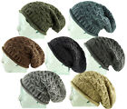 RARE Superb Sand Washed - Cable C Knit Oversized Slouch Knitted Beanie Cap Hat