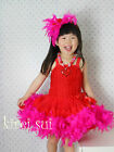 Valentine's Day Red Rosettes Hot Pink Feather Party Dress Headband 2pcs Set 1-4Y