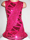 GIRLS 60s CERISE PINK EMBROIDERED BRAID SEQUIN EVENING SHIFT PARTY DRESS