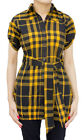 Ladies Indian Kurta Tops-Short Sleeve Black/Orange Tartan Style Kurti-7353