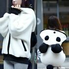 Ball-shaped Tail Cute Panda Style Womens Hoodies Outwear Sweats Zipper Pockets