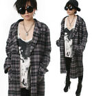 RTBU Kera Street Punk Rock Flannel Plaid Tartan Long Blazer Jacket Trench Coat