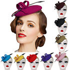 A145 Ladies Curly Feather Felt Wool Fascinator Pillbox Tilt Cocktail Formal Hat
