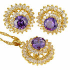 20mmx460mm Fashion Round Cut Necklace Pendant Earrings Gemstone 18K Jewelry Set