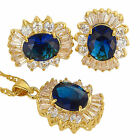14Mmx460Mm Fashion Oval Cut Necklace Pendant Earrings Gemstone 18K Jewellery Set