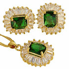 Fashion Emerald Cut Necklace Pendant Earrings Gemstone 18K Jewellery Set