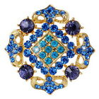 Huge Brooch Pins Rhinestone Crystal Nobler Gold Tone Square Jewelry Xmas Gifts