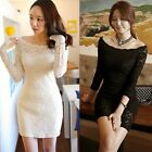 Stretch Boat Neck Long Sleeve Lace Floral Womens Fitted Sheath Mini Dress Tops