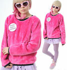 RTBU Hyper Cyber Kawaii Punk Hot Neon Pink Teddy Bear Faux Fur Furry Sweatshirt
