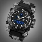 NIGHT VISION INFANTRY MENS SPORT ARMY DUAL QUARTZ WRIST WATCH BLACK CHRONO GIFT