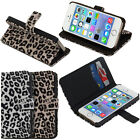 Leopard Wallet Flip Leather Stand Case Cover Card Holder For Apple iPhone 5S 5