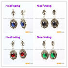 Fashion oval beads Marcasite silver dangle stud hoop earring for chritmas gift