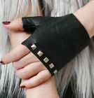 Genuine Leather Lambskin Punk Metal Studded Boxing Biker Riding Fingerless Glove