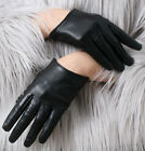 Genuine Lamb Punk Rocker Leather Fashion Runway Scroop Cut Away Wrist Noir Glove