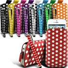 PU Leather Polka Pull tab Pouch Case & Stylus Pen For Most Nokia Mobile Phones