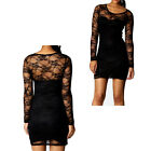 Black Sexy Women's Ladies Floral Lace Long Sleeve Bodycon Dress 8,10,12,14,16