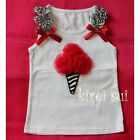 Baby Girls White Tank Top Red Zebra Ice Cream Cone Party Pettitop 3M-10Y