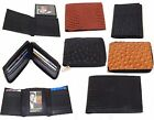 Mens Leather Wallets Ostrich Snakeskin Print Trifold Bifold Zip-Around to Choose