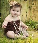 Baby Girls Brown Lace Ruffles Petti Rompers Romper NB-3T