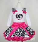 Hot Pink Zebra Pettiskirt Heart White Long Sleeves Top 2pc Party Dress 1-7Y