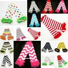 PATTERN WAVES POLKA DOTS STRIPE Print Baby Girl Cotton Ruffle Leg Warmer Legging