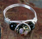 Sterling Silver Black Cloisonne Bead Ring with Onyx - All Sizes - Gift for Her