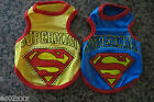 SUPERMAN Hero Dog or Puppy T-Shirt Vest Blue or Yellow Small Pug 23 x 32 x 20 cm