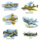 Set of 6 War Planes Airplane Bomber Select-A-Size Waterslide Ceramic Decals Tx image
