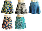 New Rayon A-frame Summer MINI SKIRT buttons 40 cm long blue Hawaiian Hibiscus