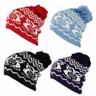 U36 LADIES RETRO OWL DESIGN KNITTED WINTER BOBBLE SLOUCH BEANIE SNOW SKI HAT