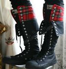 20 Hole Punk Rock Knee Hi Flip Fold Collar Black Red Tartan Plaid Unisex Sneaker