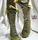 20 Hole Punk Rock Canvas Laceup Knee Hi Olive Military Green Yellow Sneaker Boot