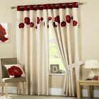 Luxury Lined Red Eyelet Curtains Ring Top Danielle
