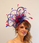 Royal Blue & Hot Pink  Races Wedding Fascinator Hat Choose any Satin/ Feather