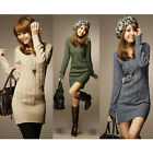Stylish Womens Pullover Tops Casual V Neck Sweater Jumper Long Top Mini Dress E
