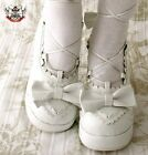 Sweet Lolita Dolly Cosplay Princess Tea Party Roman Lace Wedge Bridal Mono White
