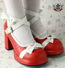 Sweet Lolita Dolly Cosplay Princess Bow Tie Mary Jane Heel Handmade Red White
