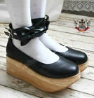 Gothic Punk EGL Lolita Faux Wood Platform Bow Tie Node Ankle Strap Band Black