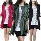 New Womens Ladies Casual Lapel Trench Coat Long Jacket Outerwear